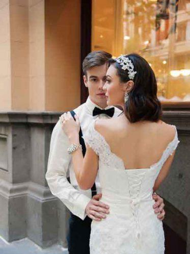 Wedding dress with straps