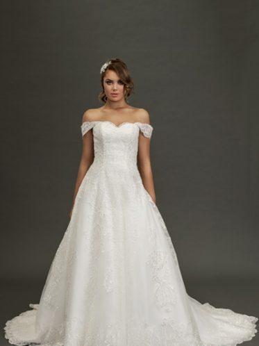 Katherine lace long train wedding dress