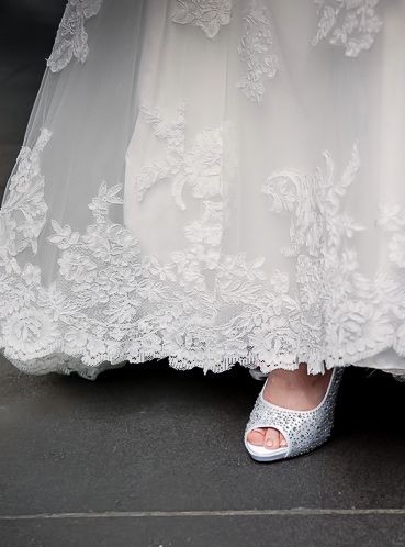 Bec wedding dress lace and shoes