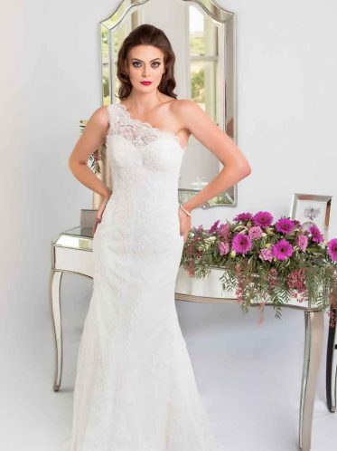 one shoulder lace wedding dress