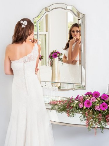 one shoulder lace wedding dress the Cora