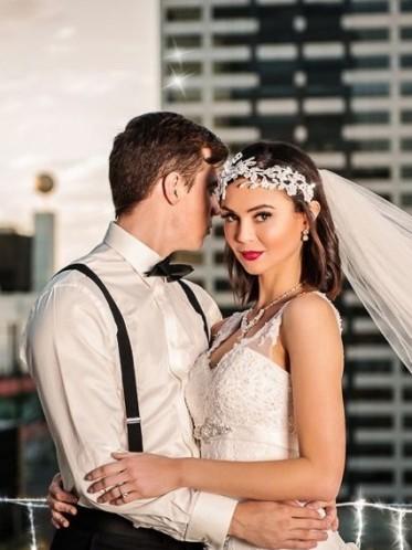 romantic vintage lace wedding gown