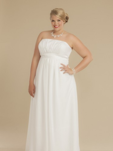 simple chiffon cheap plus size wedding dress