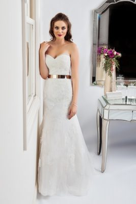 strapless wedding dresses with gold belt