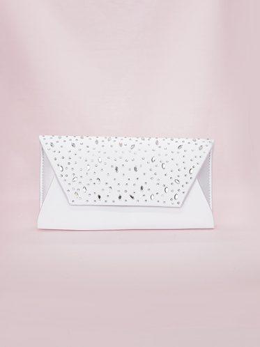 Dazzling white bridal bag