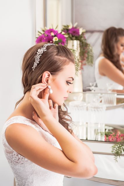 Halo earrings for brides Melbourne