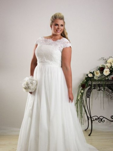 Simple plus size wedding dress.