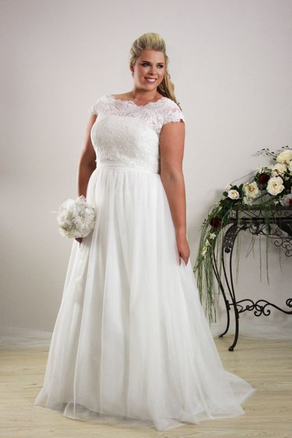Simple plus size wedding dress annie plus size bridal for Wedding dresses for big chest
