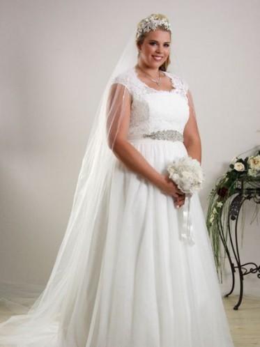 Simple plus size wedding dress.