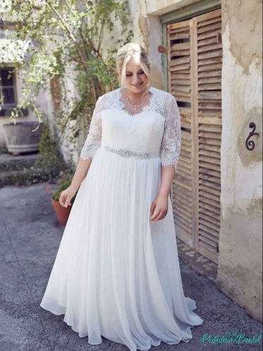 Elegance lace sleeve wedding dress