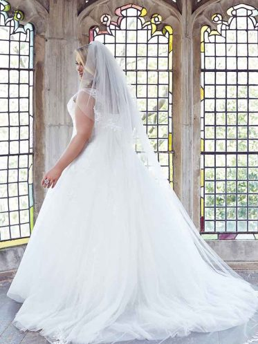 Anastasia plus size wedding dress with veil