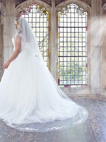 Anastasia plus size wedding dress and matching veil