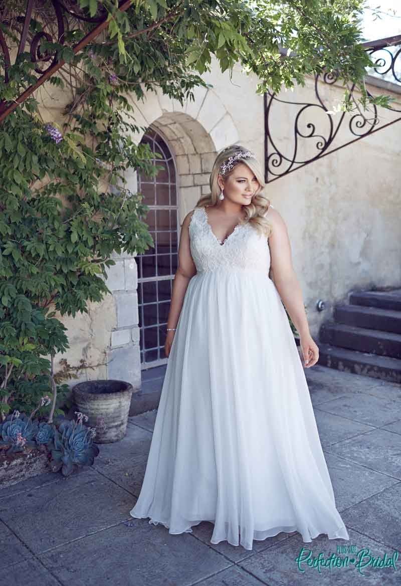 leah s designs simple Plus size wedding dresses chiffon