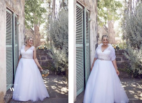 Felicity gown with and without wrap