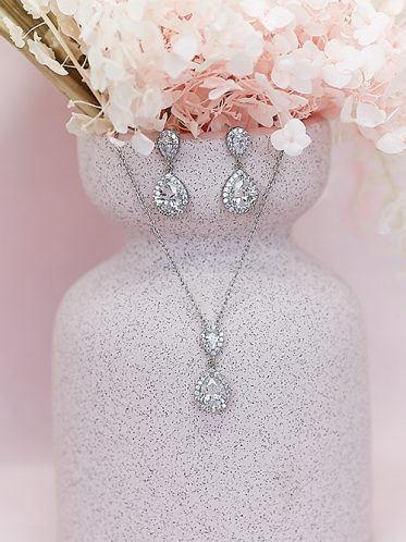 Silver crystal necklace Sophia
