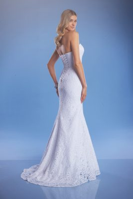 Lace mermaid wedding dress back view
