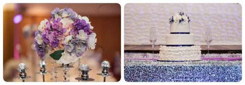 Melanies wedding cake with purple theme