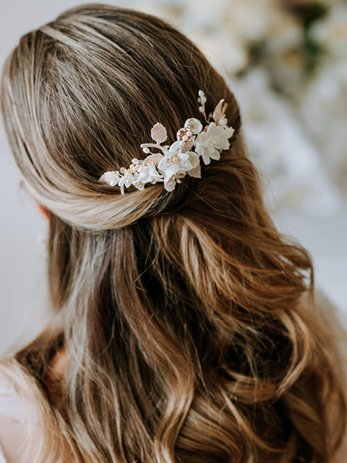 blush and ivory hair comb