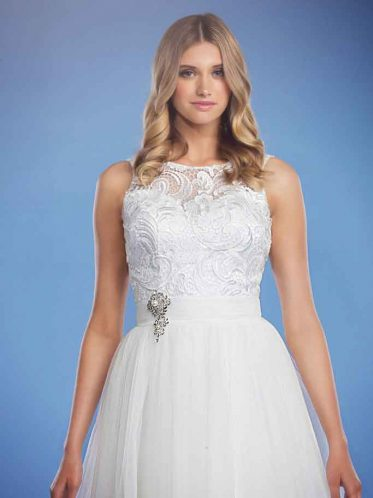 Krissy white wedding dress with brooch
