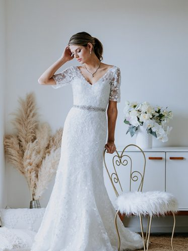Fit and flair bridal gown on sale
