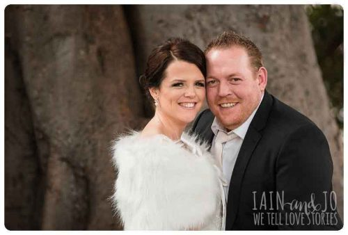 Melanie wearing fur bridal wrap