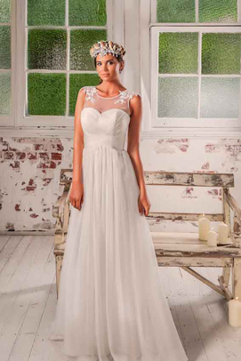 leah s designs Bridal dress Lana with shell crown