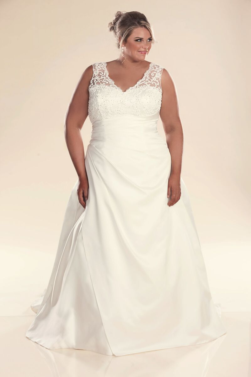 Plus size wedding dress with straps jenny bridal gowns for What is my wedding dress size