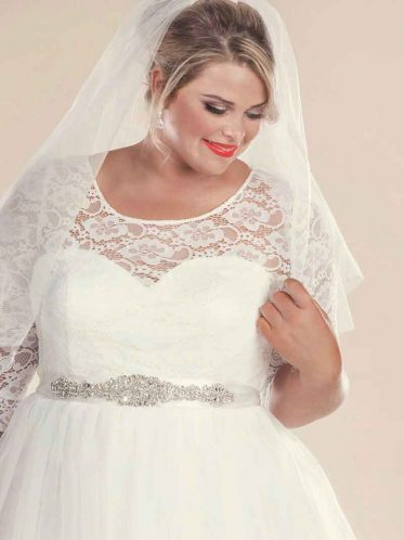 retro style wedding dress with veil and bridal belt