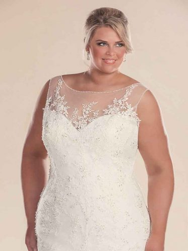Close up mermaid plus size wedding dress