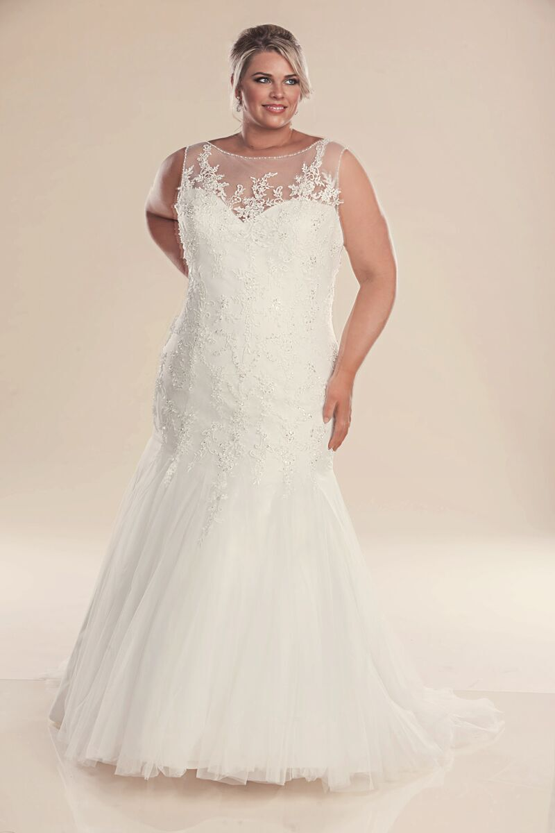 Mermaid plus size wedding dress genevieve wedding for Plus size after wedding dress