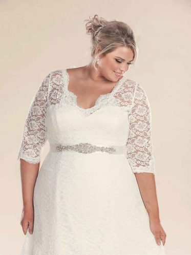 Plus size wedding dress with sleeves and sash