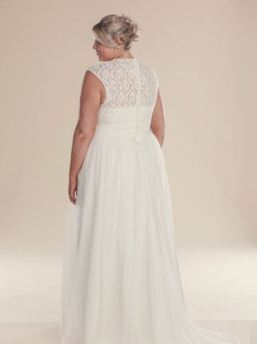 Plus size wedding dresses with stunning lace back detail