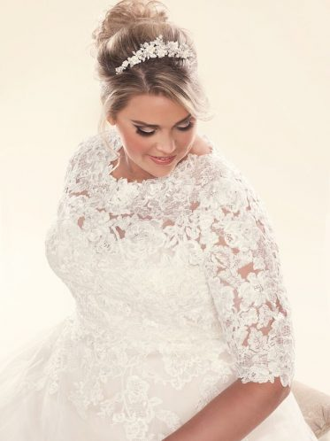 Plus size lace jackets for brides.