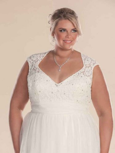 Plus size bridal gowns Lillian grace close up