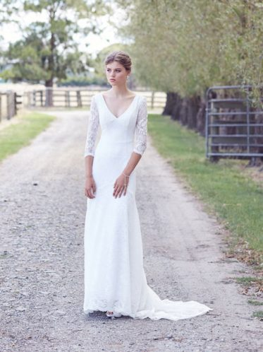 Lace wedding gown with sleeves
