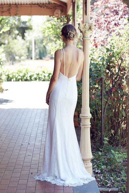 White lace gown back