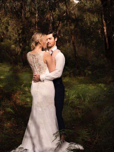 Rosebud low back wedding dresses