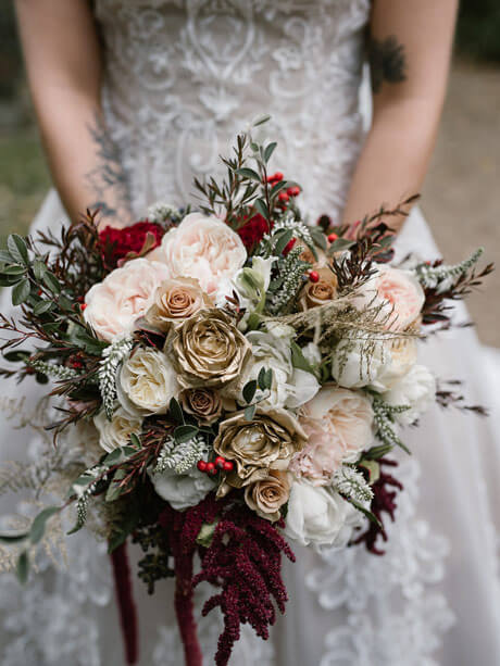 Unique bridal flowers at styled bridal shoot