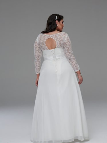 Keyhole Back of V-neck lace gown style