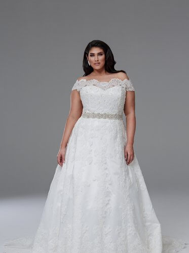 Benadette plus size lace wedding dresses