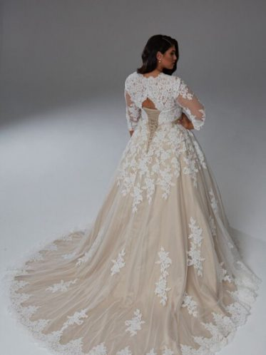 Latte long sleeve bridal gown coloured wedding dresses