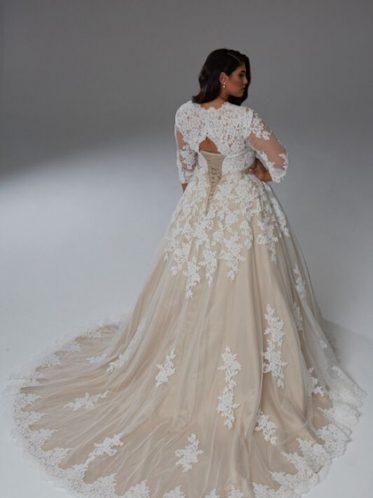 Latte long sleeve bridal gown