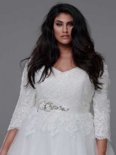 Close up 3/4 sleeve wedding dresses plus size
