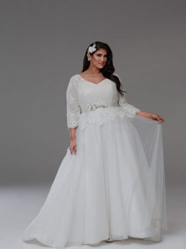 Long sleeve wedding dresses plus size Tanya