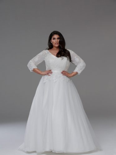 3/4 sleeve wedding dresses plus size the Tanya
