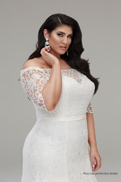 Mermaid lace wedding gown plus size