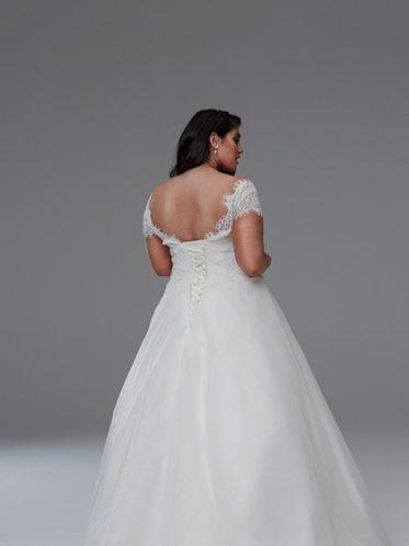 back of Nicole Off the shoulder wedding dresses