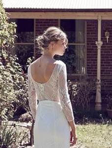 Sheer back boho wedding dress