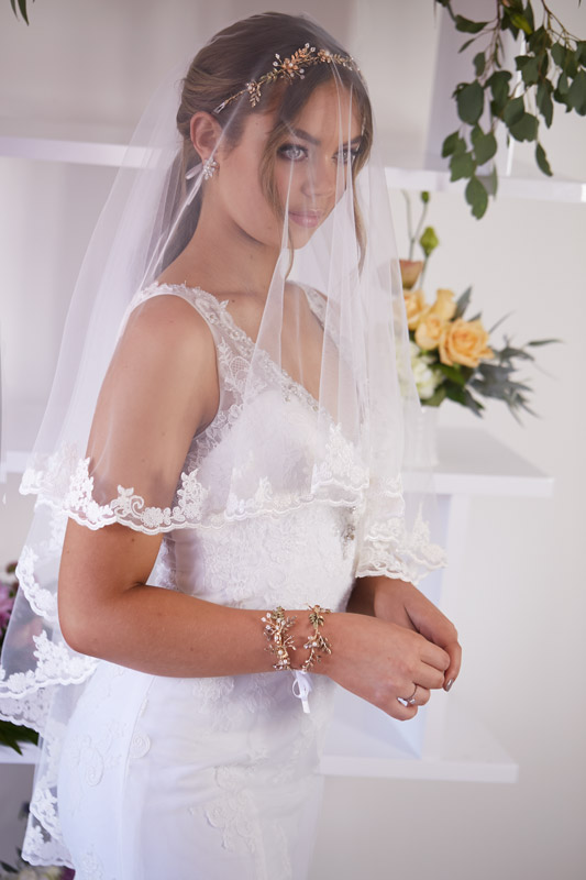 Lace veil over face