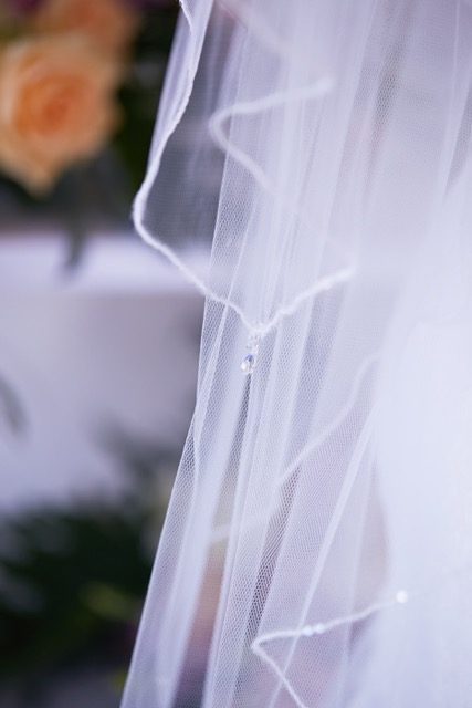 Sequin trim wedding veil